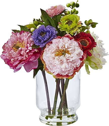 Nearly Natural 4586 Peony and Mum in Glass Vase,Other