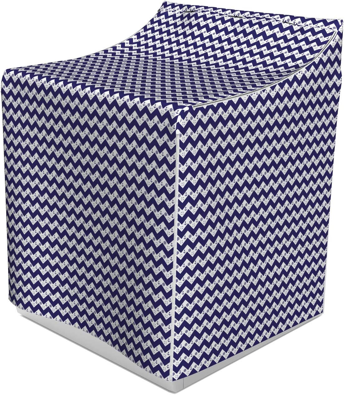 "B07Q2MT5X2 Lunarable Navy Washer Cover, Zig Zag Lines Chevron Geometrical Image Design with Anchors Dots Artwork Image, Decorative Accent for Laundromats, 29"" x 28"" x 40"", Navy Blue 81irLM0nuGL"