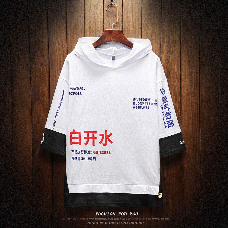 FakeT Shirt Men Hooded Mens T Shirts Slim Fit Short Sleeve Mens Hoodies T Shirt-in T