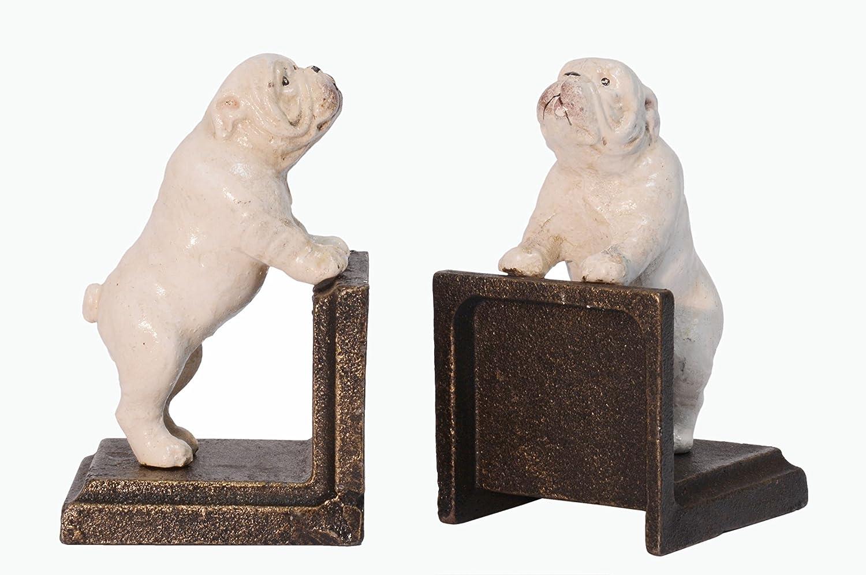 Deko Buchst/ütze B/ücherst/ütze 2er Set Bulldogge Hund Nostalgie Vintage Gu/ßeisen 7,8x7,8x13cm