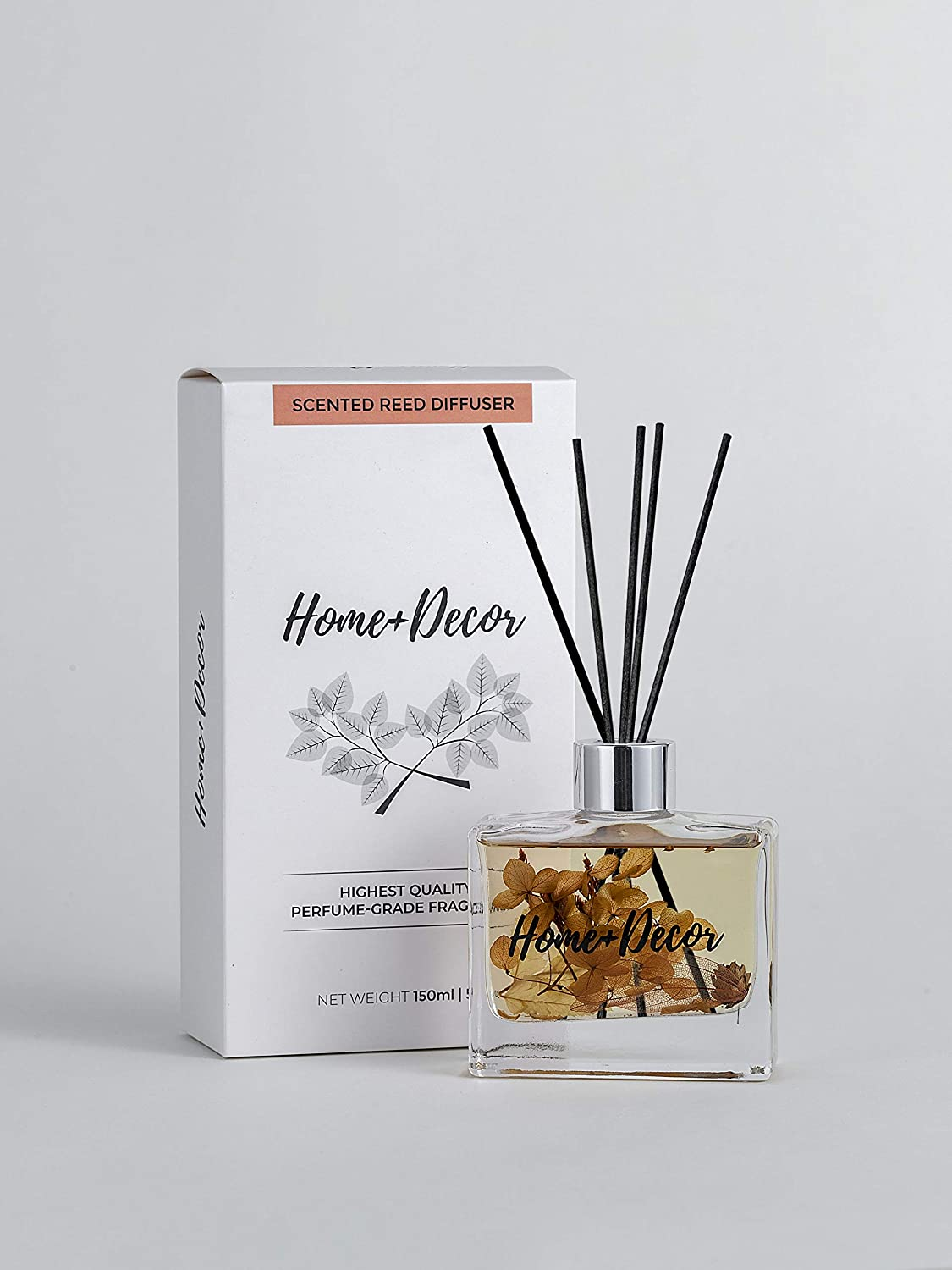 HOME + DECOR BY HJEMM Reed Diffuser Fragrance Set with Sticks - Proprietary Blend of Brazilian Orange, Bergamot, Spearmint, Eucalyptus, Sage, and hints of Cypress Wood - Long-Lasting Safe and Natural