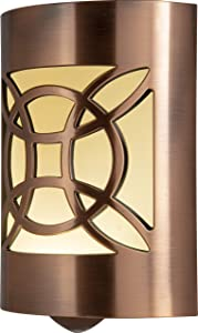 GE CoverLite LED Night Light Celtic Design, Plug-In, Dusk to Dawn Sensor, Home Décor, for Elderly, Ideal for Bedroom, Bathroom, Nursery, Kitchen, Hallway, Oil Rubbed Bronze, 11332, 1 Pack,