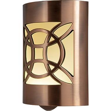 GE LED CoverLite, Celtic Design, Oil Rubbed Bronze Finish, Plug-In Night Light, Light Sensing, Dusk to Dawn Sensor, Energy-Efficient, Ideal for Hallways, Kitchens, Bathrooms, Bedrooms, Offices, 11332