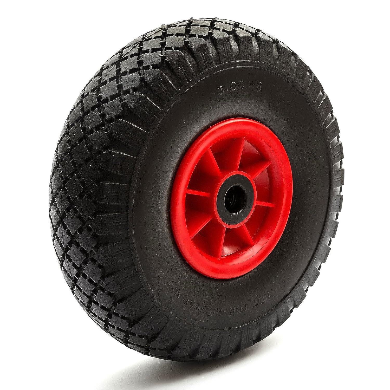 PU Wheel + TYres 3.00-4/3.50-4 PU Nylon 4'' Rim Wheelbarrow Trolley Puncture Proof Solid Sack Truck Garden Trailer PetrolScooter