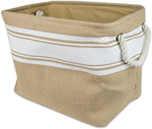 DII Burlap Collapsible Storage Bin with Cotton Handles, Large, White
