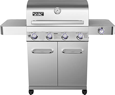 Monument Grills Stainless Steel Four Burner Propane Gas Grill - Rotisserie