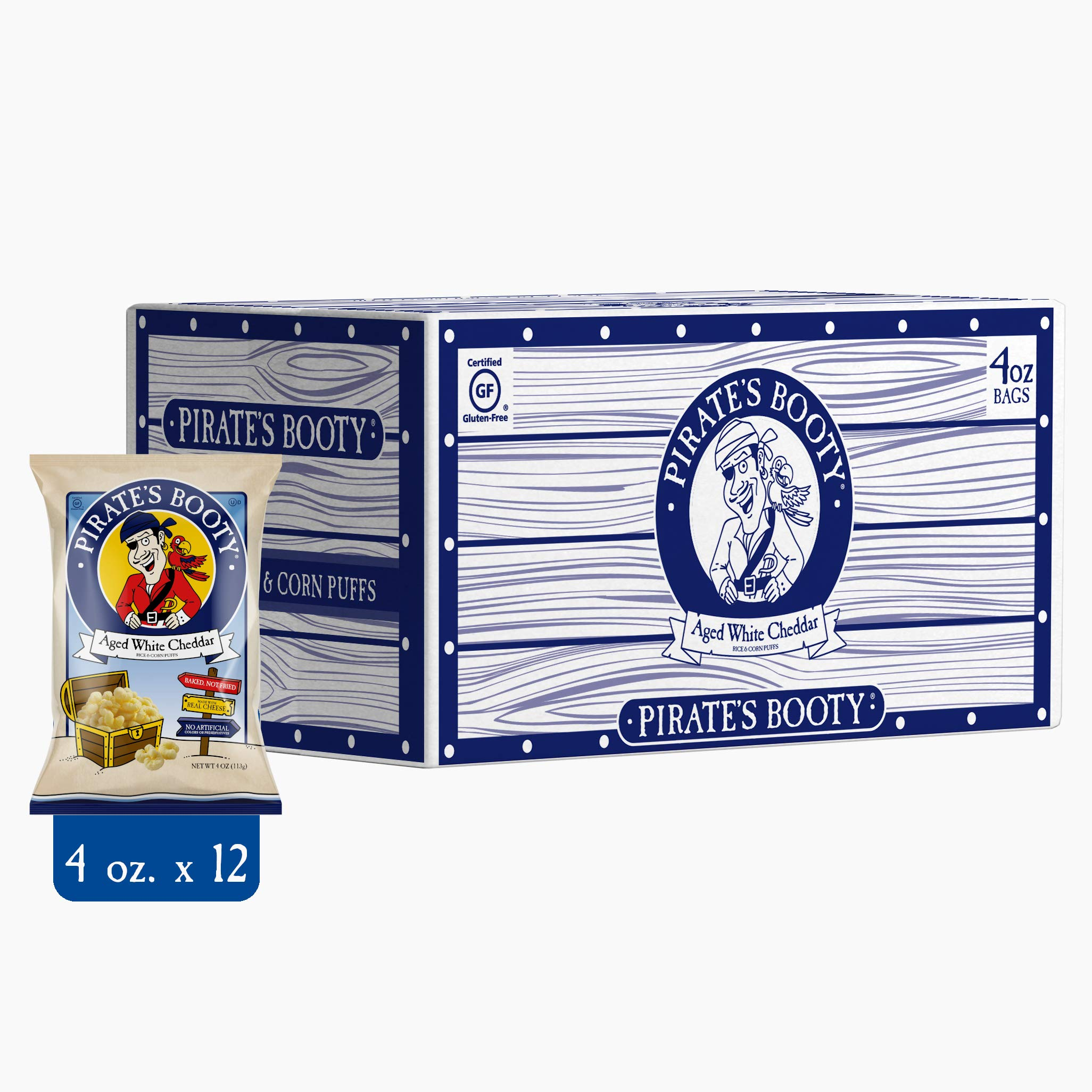 Pirate's Booty Cheese Puffs, Healthy Kids Snacks, Real Aged White Cheddar, 4oz Grocery Sized Bags (Pack of 12)