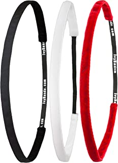 Ivybands® | Le antidérapant Bandeau Cheveux Noir | Lot de 3 Super Thin Cheveux Bande, Blanc Super Thin Bandeau Cheveux, Hot Red Super Thin Cheveux Bande, (Largeur 1 cm) | ivy003 ivy507 ivy423 IVYBANDS® IVY003507423