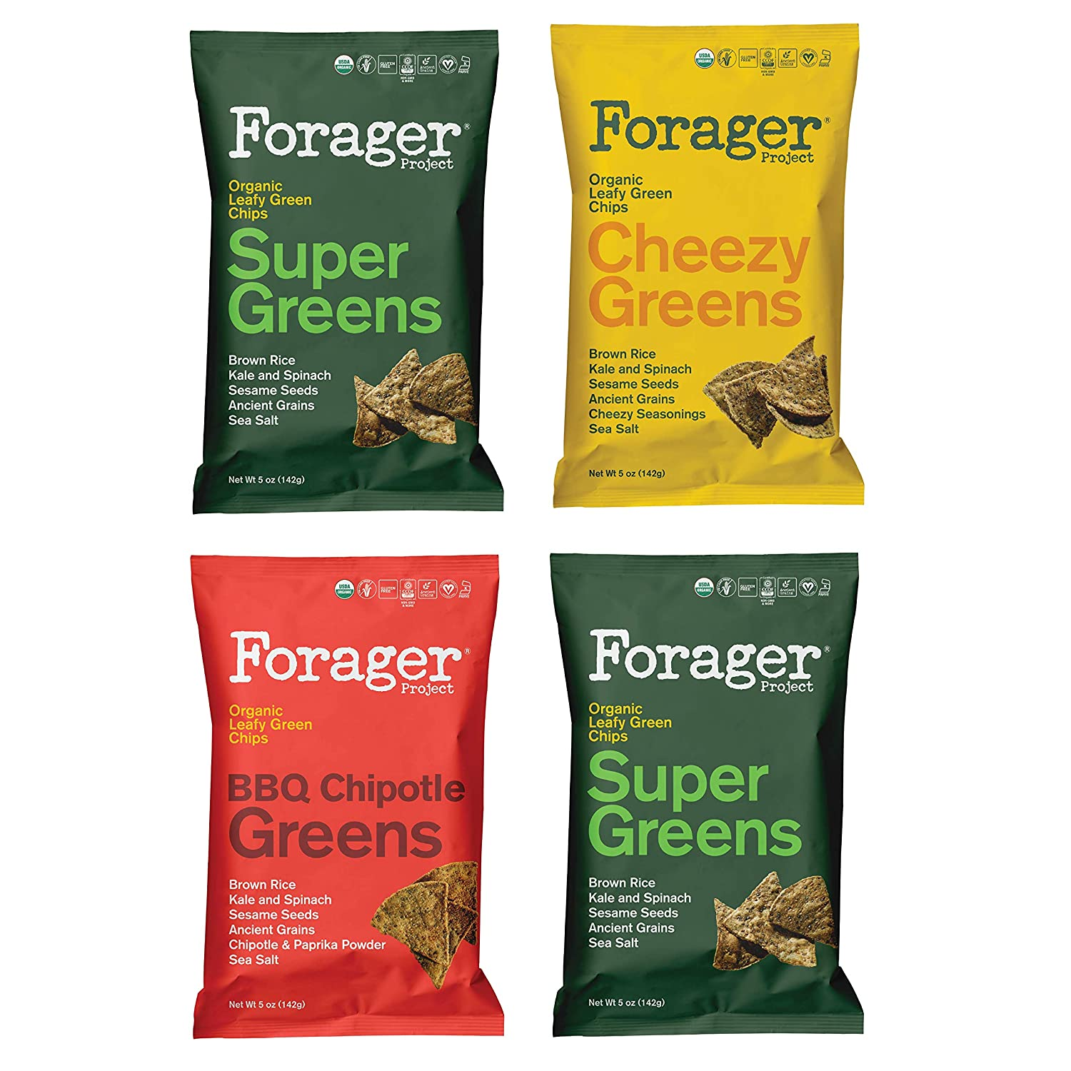 Forager Project Organic Leafy Green Chips, 4 Pack Variety - Corn & Gluten Free - Made with Kale & Spinach (Super Greens, Cheezy Greens, Chipotle BBQ)