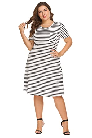 e9d28325a8d Lacegre Women s Plus Size Crew Neck Short Sleeve Stripe Tunic Dress Casual  Swing T-Shirt