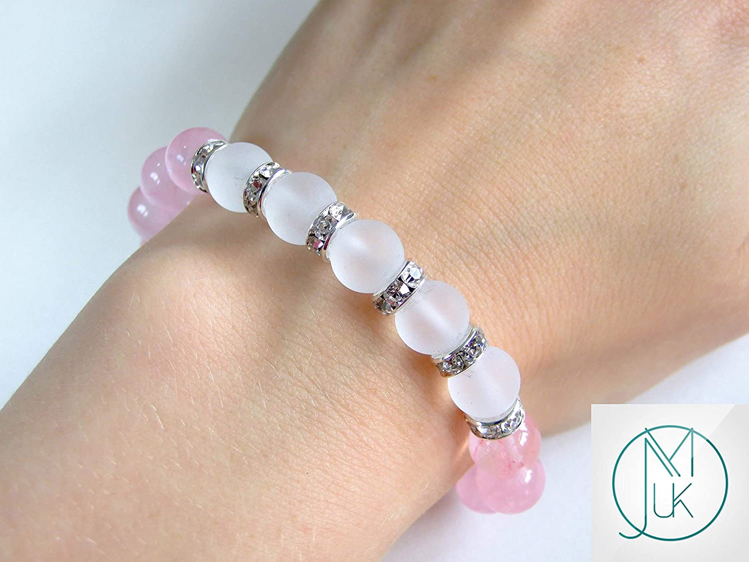Rose Quartz Frosted Crystal 10mm Natural Gemstone Bracelet Beaded 6-9 Elasticated Healing Stone Chakra Reiki With Pouch FREE UK SHIPPING