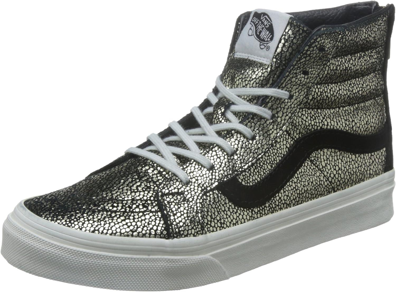 Vans SK8 HI Slim Zip Gold Dots GoldWhite Women' Shoes 5.5