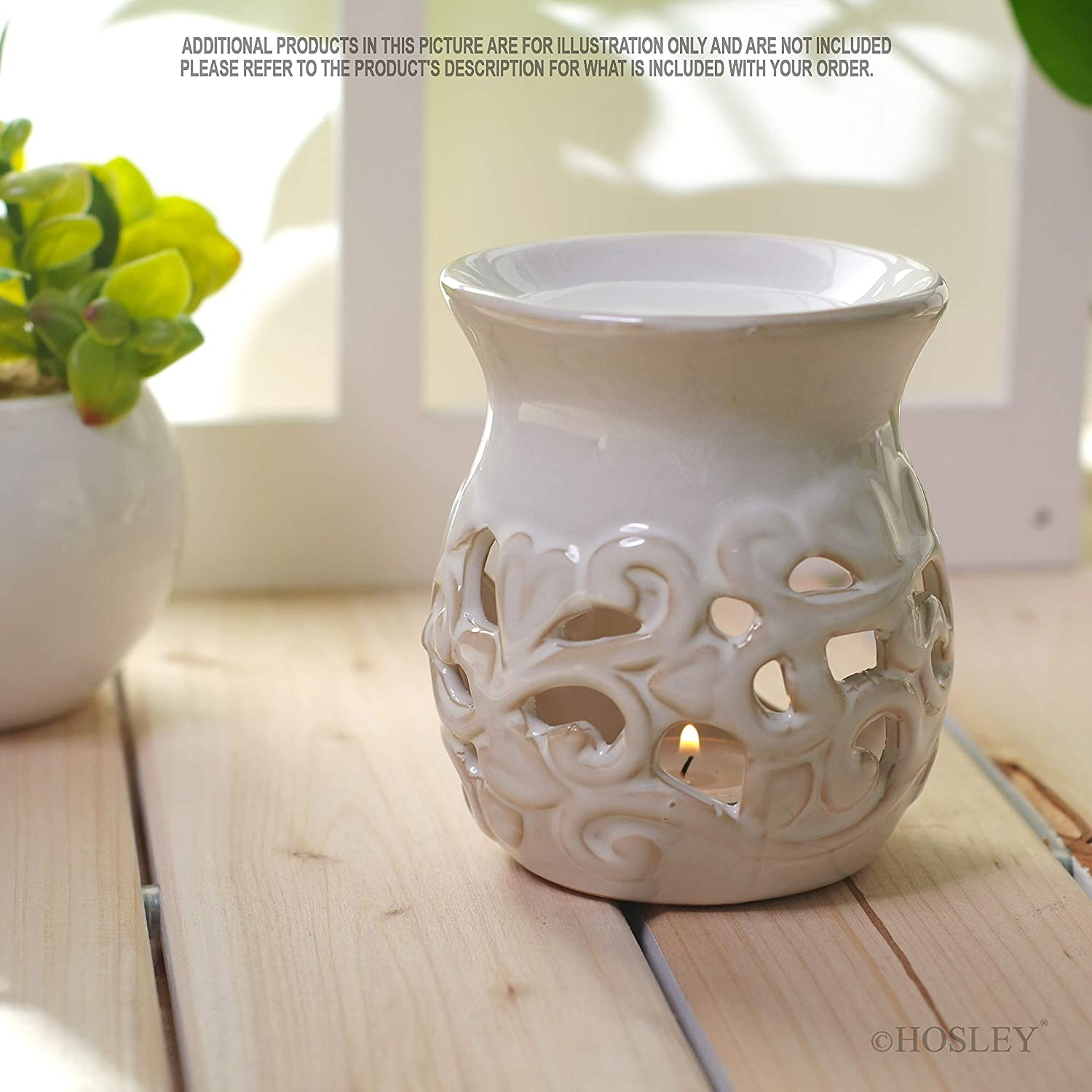 Hosley S Set Of 2 White Ceramic Oil Warmer Candle Warmer 4 3 High Use With Tea Lights Ideal For Spa And Aromatherapy Use With Hosley Brand Wax Melts Cubes Essential Oils