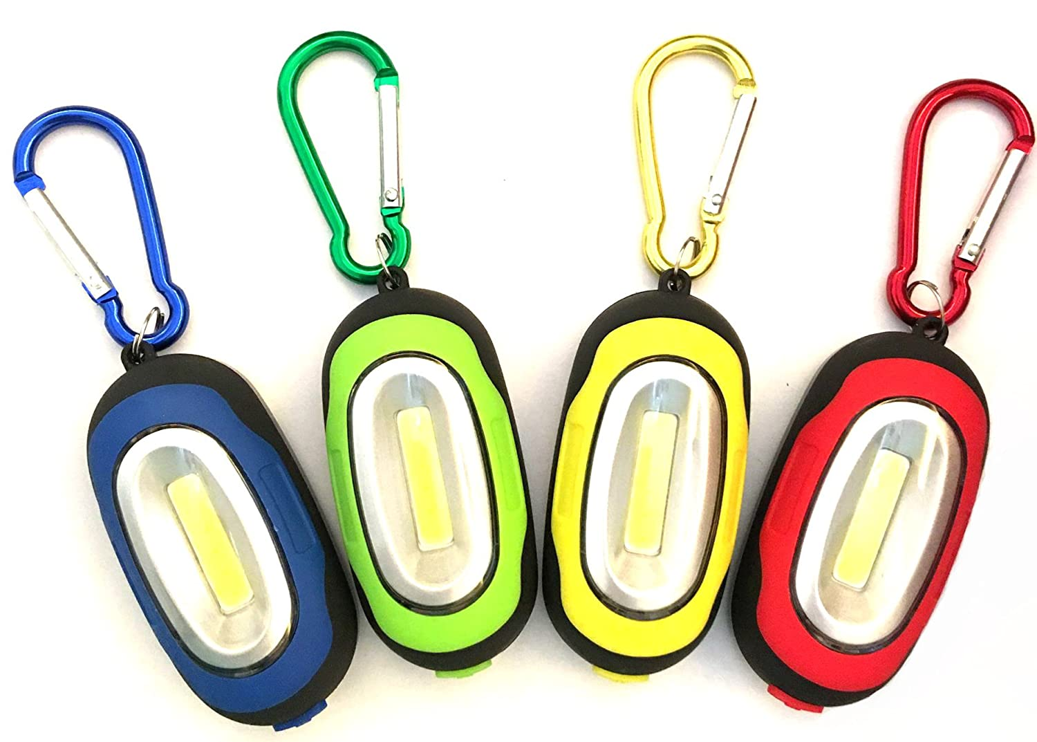 【4 Pack】Elecrainbow Magnetic Pocket Key Chain Flashlight/ COB Super Brightness with Carabiner, Assorted Colors