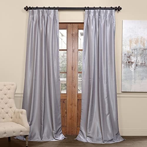 HPD Half Price Drapes PDCH-KBS9BO-108-FP Blackout Vintage Textured Faux Dupioni Pleated Curtain 1 Panel , 25 X 108, Silver