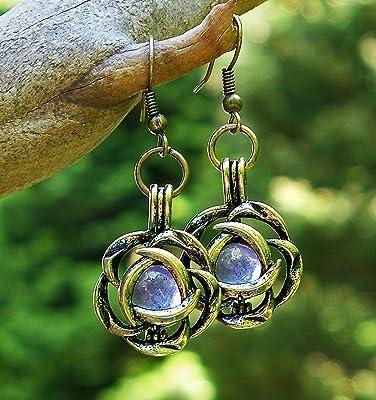 Recycled Early 1900's Purple Medicine Bottle Brass Flower Earrings