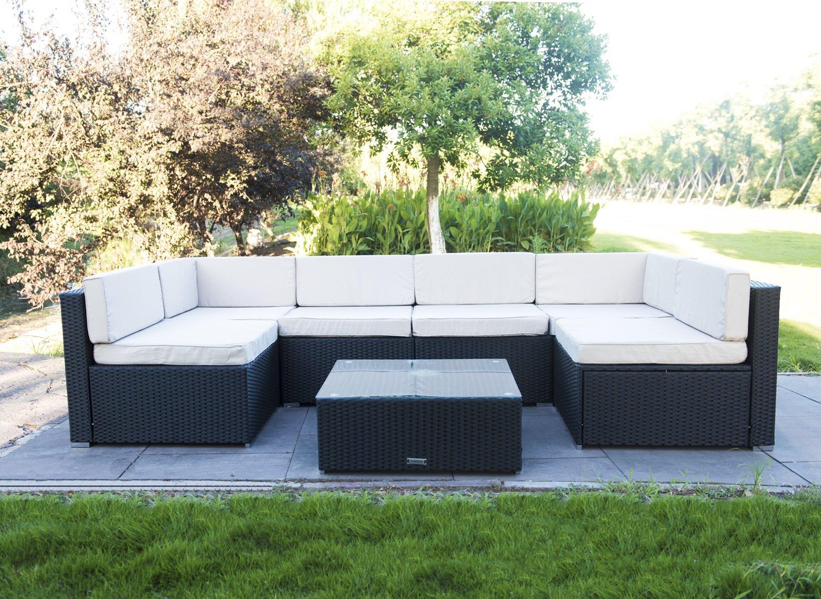 VANERUM 7 Piece Outdoor Patio PE Rattan Wicker Sofa Sectional Furniture Set (Black)   for Patio,Backyard,Deck,Pool   Incl.Tan Cushions & Seats