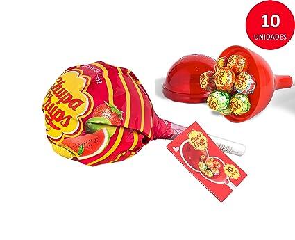 Chupa Chups Caramelo con Palo de Sabores Variados - Mini MegaChups Rojo 10 unidades de 12 gr/ud