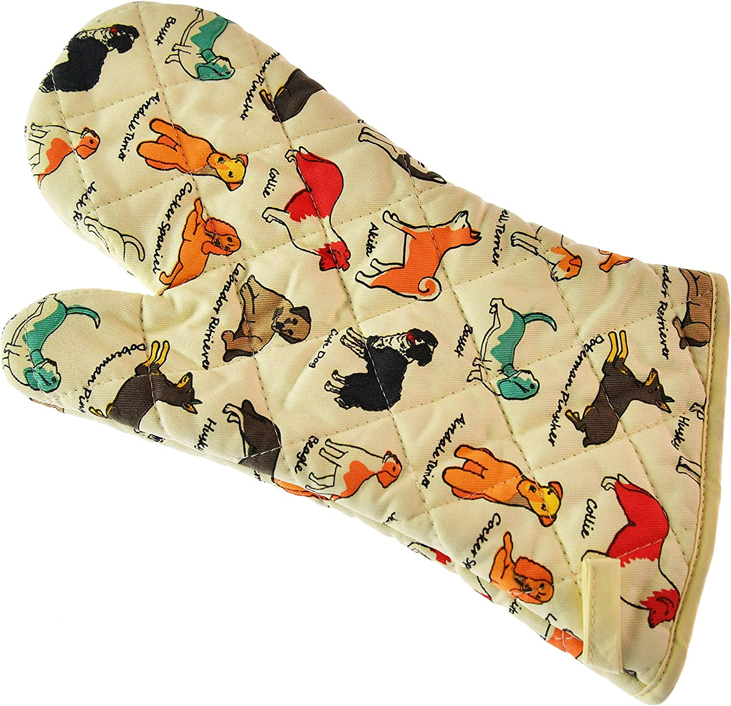 Home-X Cotton Oven Mitt for Cooking and Serving, Dog Breed Print, Bright Pattern
