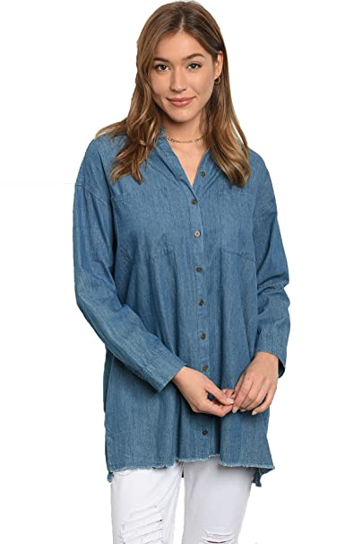 97d3a33b4 Image Unavailable. Image not available for. Color: Vina Vino Women's Oversized  Denim Button Down Overshirt