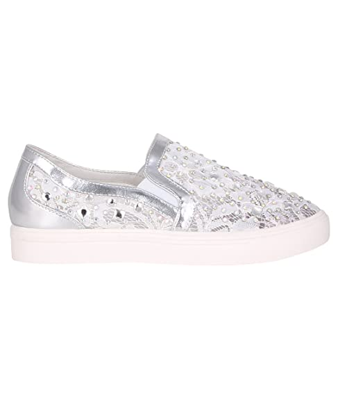 Zapatillas Plateadas Encaje y Brillantes[Blanco,40]: Amazon.es: Zapatos y complementos