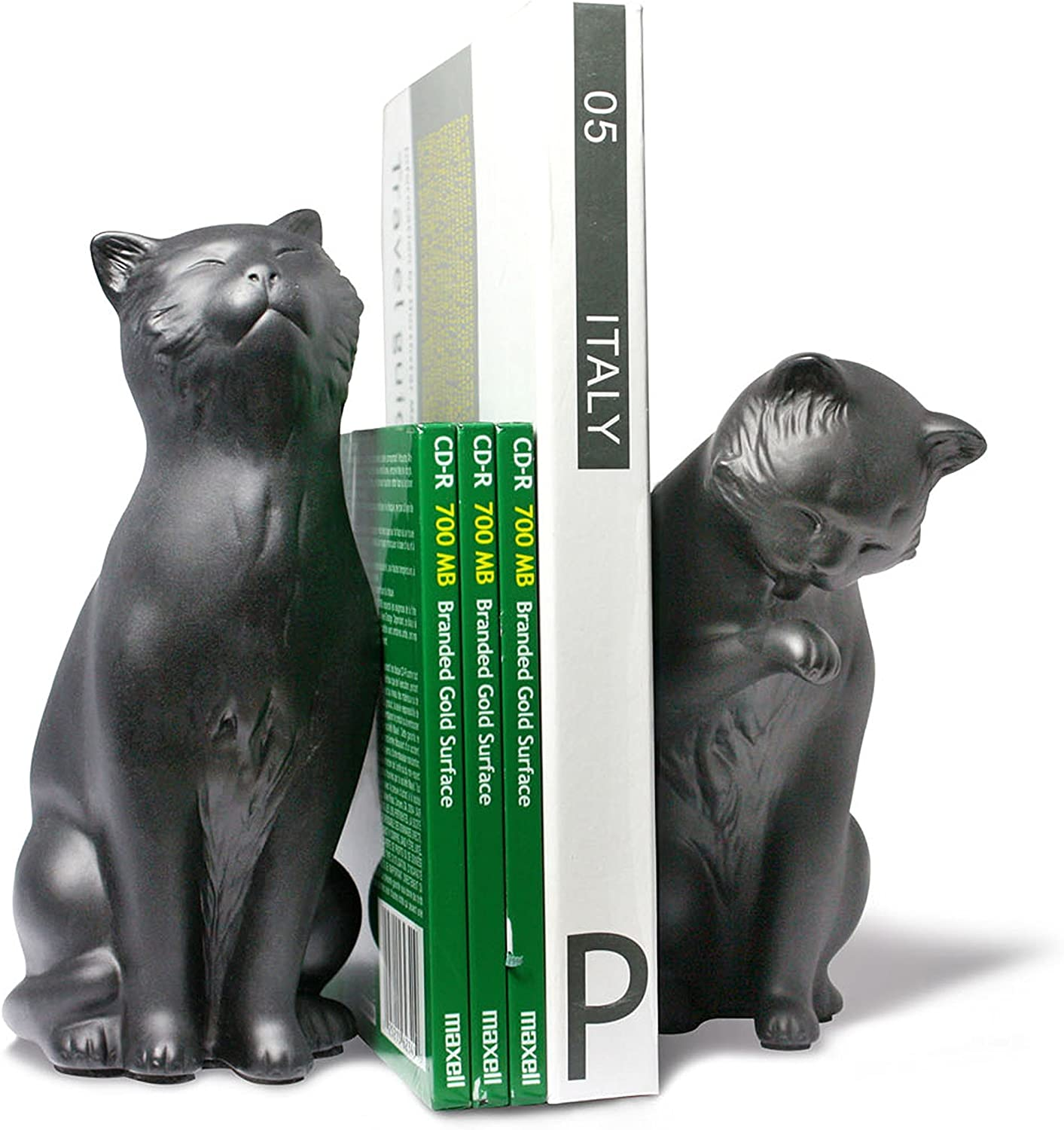 Danya B. NY8022B Feline Shelf Decor - Decorative Cat Bookend Set for Cat Lovers – Black