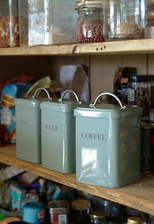 garden trading tea canister shutter blue amazon co uk kitchen