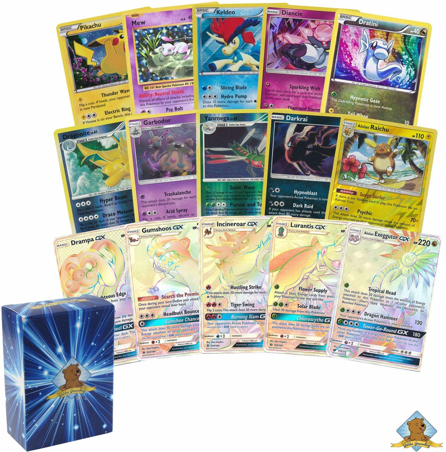 Pokemon Lot of 20 Cards - All Rares and Holos! 1 Random GX Hyper Rare! Includes Golden Groundhog Box! by GoldenGroundhog (Image #1)