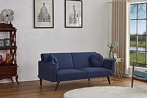 Container Furniture Direct Vintage Modern Retro Style Velvet Living Room Futon Sofa Bed, 72