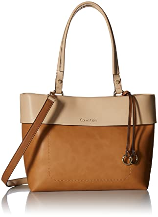 f09c6c50b0 Amazon.com: Calvin Klein womens Calvin Klein Patty Faux Leather East/West  Tote, cashew, One Size: Clothing