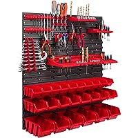 24 Stapelboxen, gereedschapshouder, wandrek, werkplaatsrek, gereedschapswand, 78 x 78 cm, gereedschapshouder…
