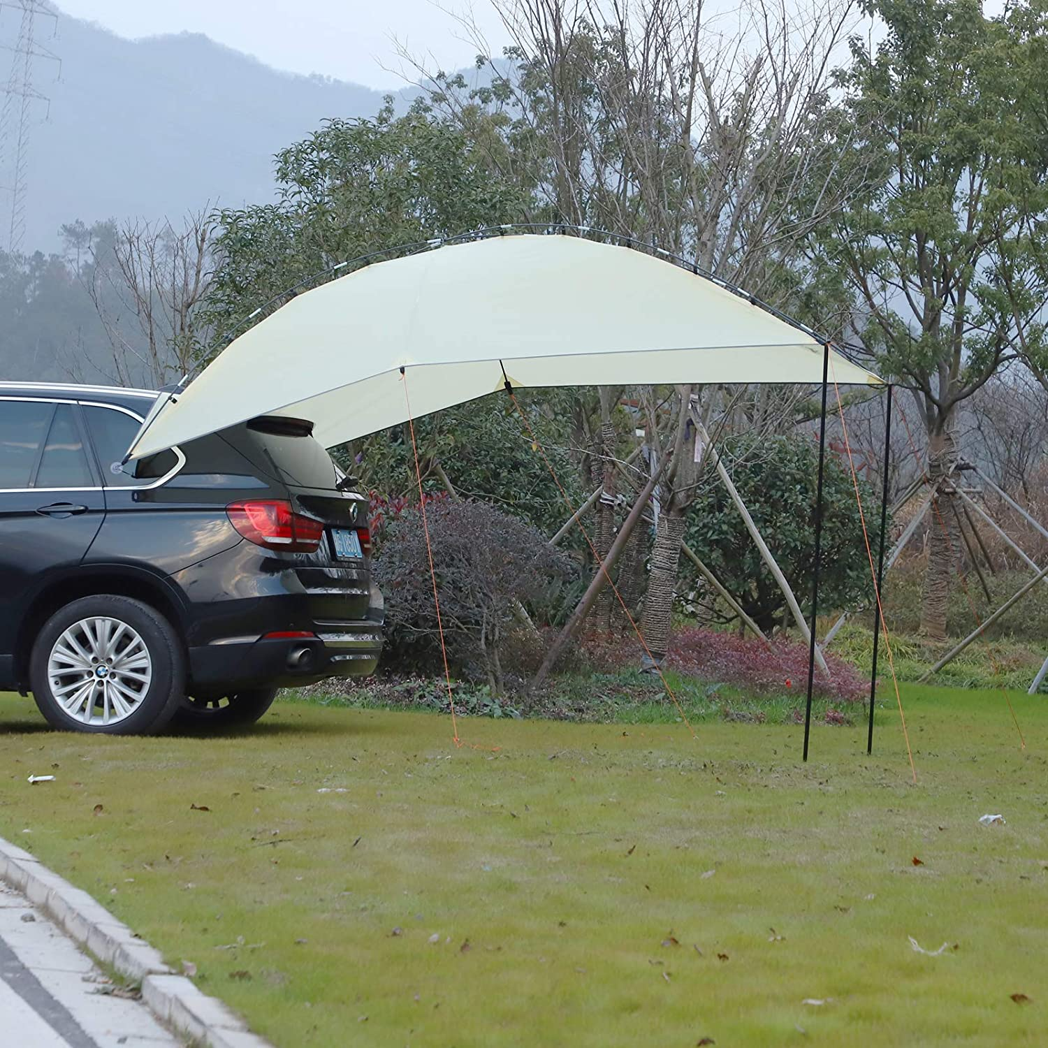 Grey Outsunny Easy-Out Self Standing Rooftop Car Awning with PU Polyester Fabric for Sun-Shade /& UV//Water Protection