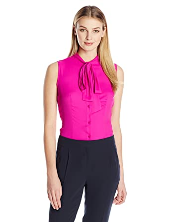 5a45ae8cd2466 Anne Klein Women s Sleeveless Bow Blouse at Amazon Women s Clothing store