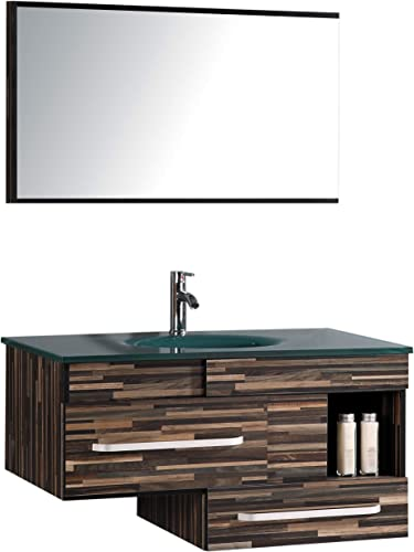 Legion Furniture WTH9032 Sink Vanity With Mirror and Without Faucet, Black Wood Pattern