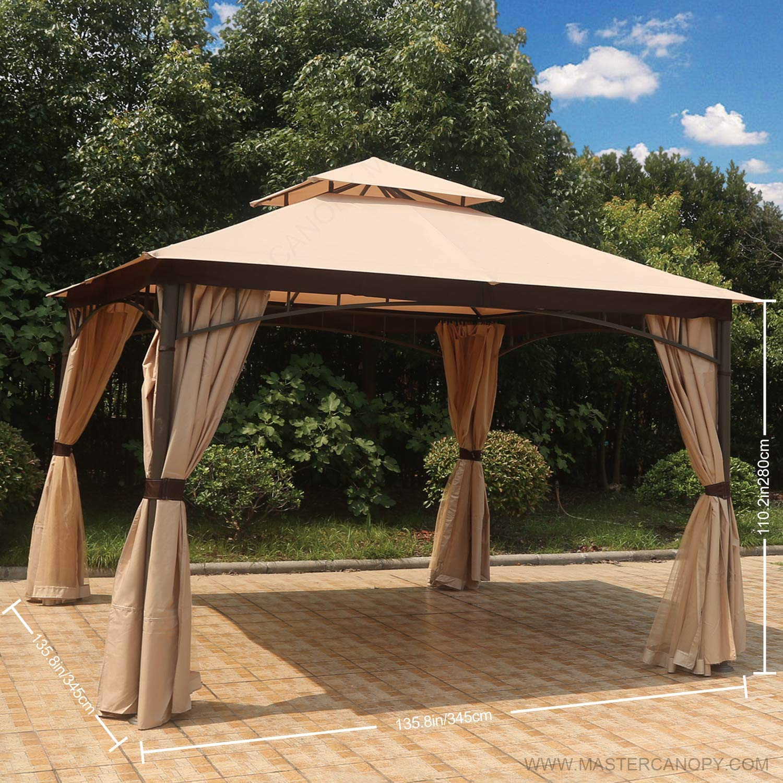 MASTERCANOPY Patio 10X12 Bermuda Gazebo Canopy Soft Top with Mosquito Netting GH13N01