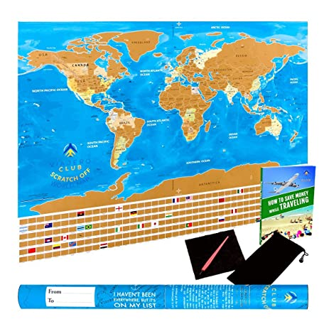 Amazon unique scratch off world map poster with country unique scratch off world map poster with country flags us states outlined in glossy gumiabroncs Gallery