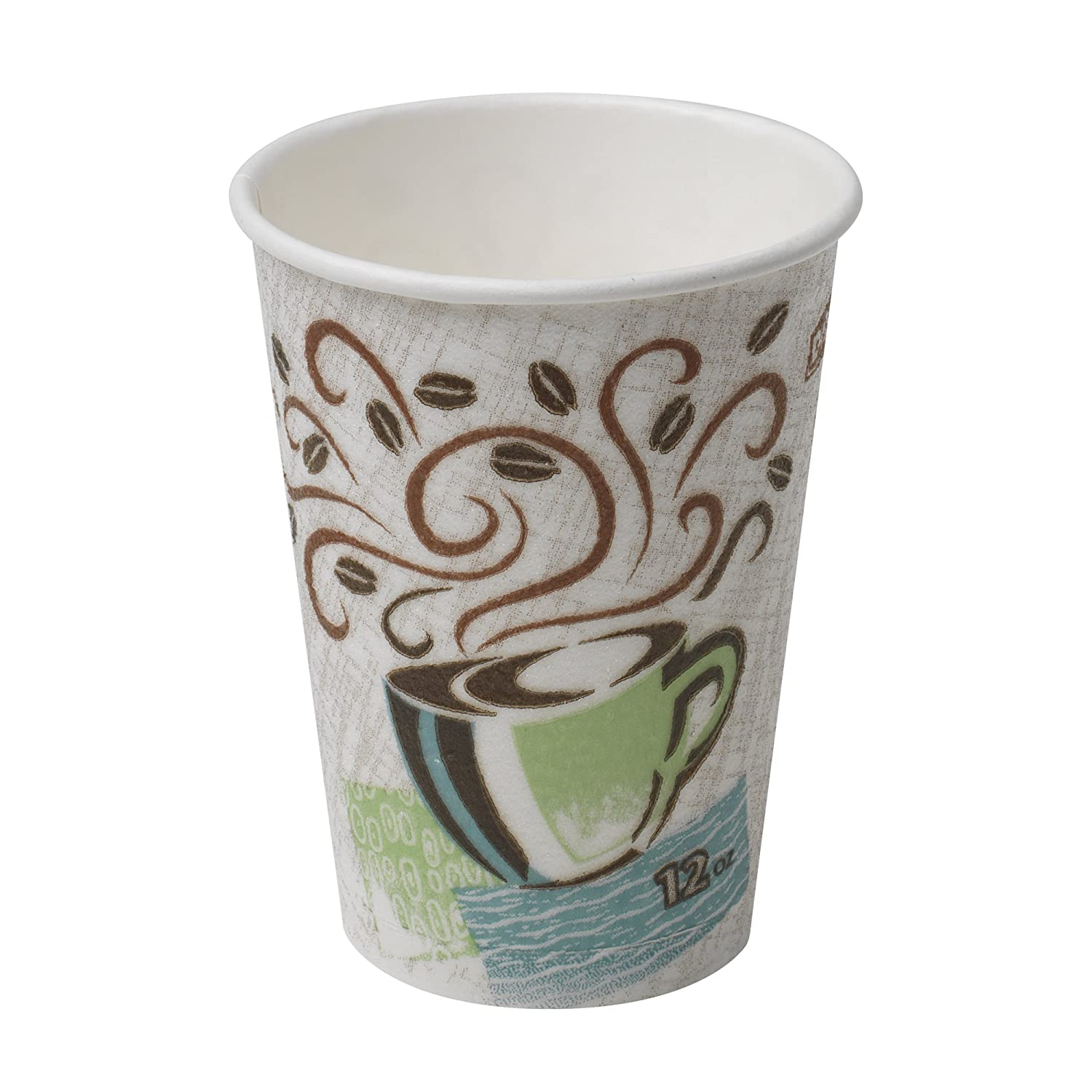 Dixie PerfecTouch 5342CD Insulated Paper Hot Cup, New Coffee Design, 12 oz (Case of 20 Sleeves, 50 Cups per Sleeve)
