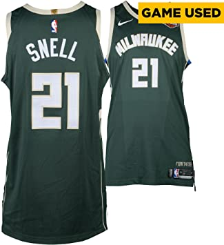 a1a64b5afee Tony Snell Milwaukee Bucks Game-Used  21 Green Jersey vs. Boston Celtics  During