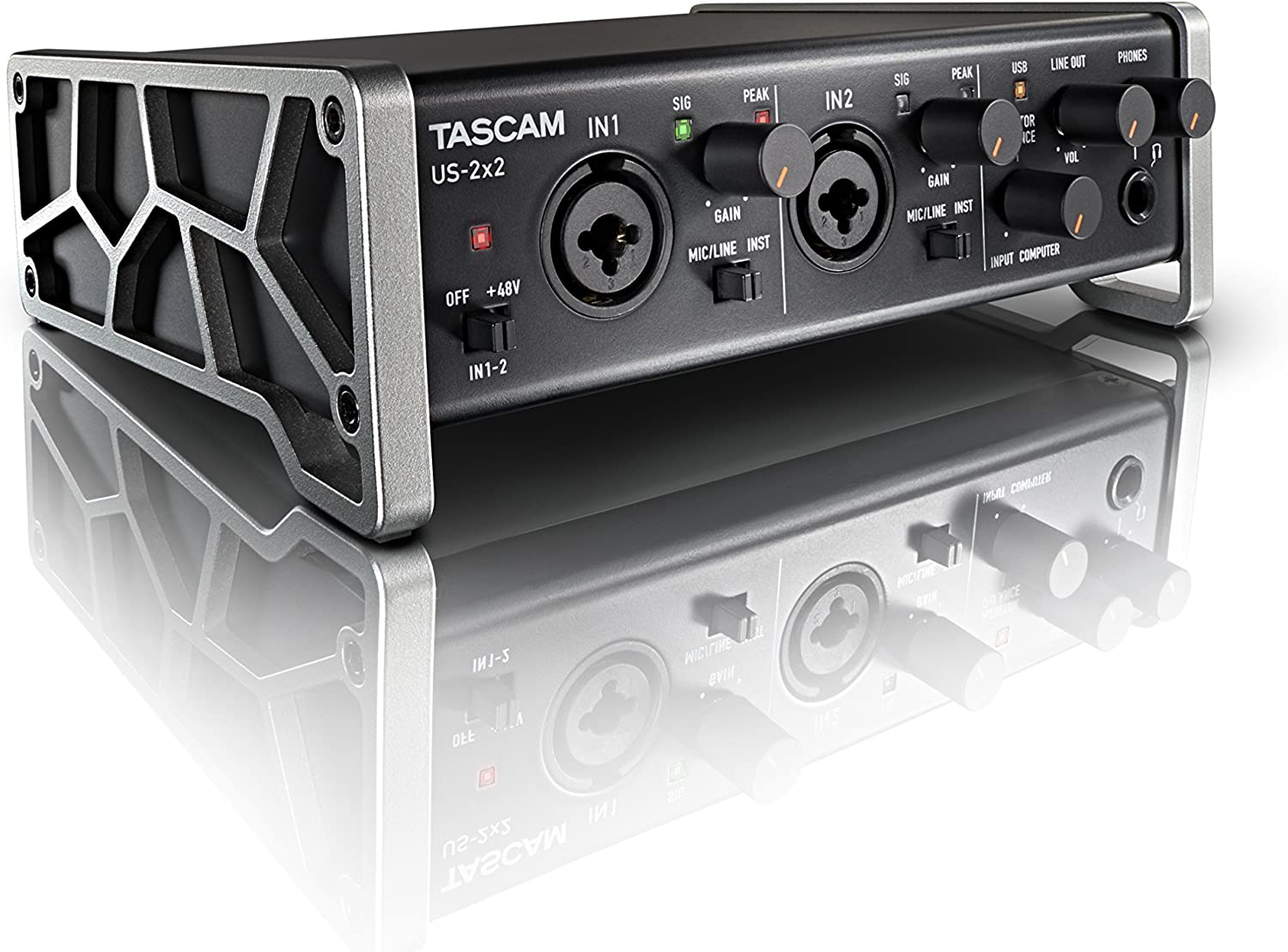 Amazon Com Tascam Us 2x2 Usb Audio Midi Interface With Microphone Preamps And Ios Compatibility Musical Instruments