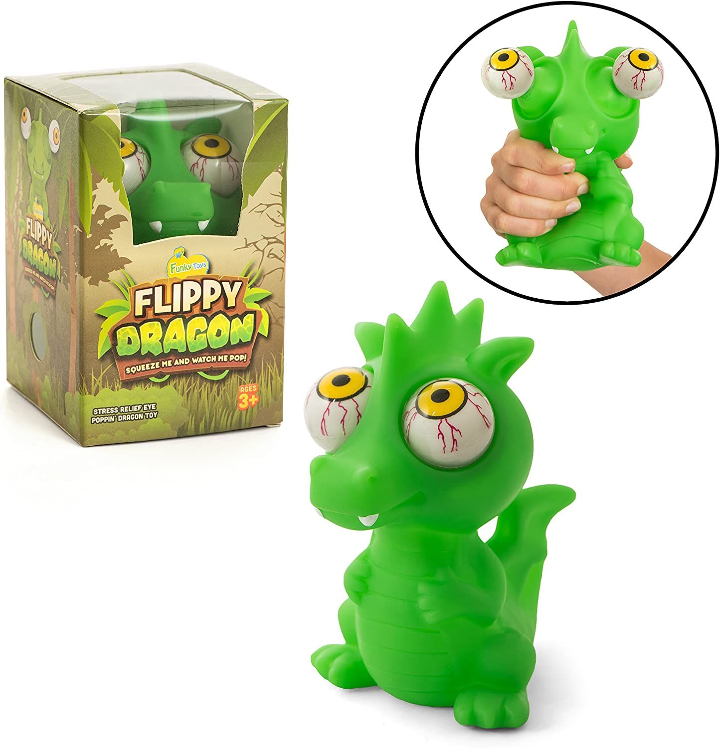 IPIDIPI TOYS Flippy Dragon Eye Popping Large Green Squishy - Gag Stocking Stuffers - Squeeze Toy for Stress Reduction - Perfect Dinosaur Gift for Boys and Girls - Great for Kids with Autism or ADHD