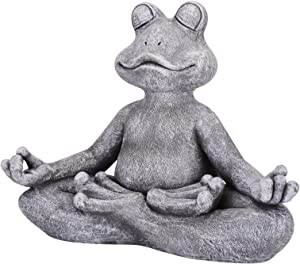 "Leego Meditating Zen Frog Statue,Zen Animal Yoga Frog Figurine for Indoor Outdoor Lawn Garden Decor (12.5"" X4.9""X10"")"