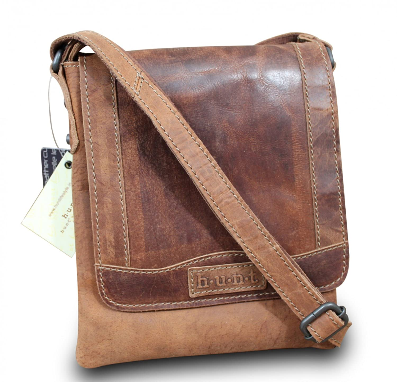HUNT iPad sac 脿 main cross body bag sac bandouli猫re vintage marron cuir de buffle haute qualit茅