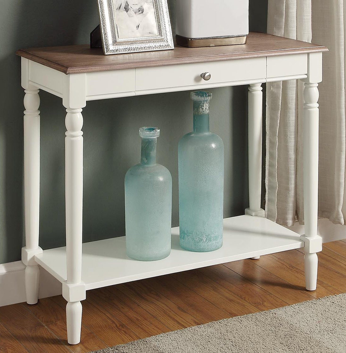 Convenience Concepts 6042188DFTW French Country Hall Table with Drawer and Shelf, Driftwood / White - Features one drawer Features bottom shelf Available in multiple finishes - living-room-furniture, living-room, console-tables - 81irjl1IfVL -