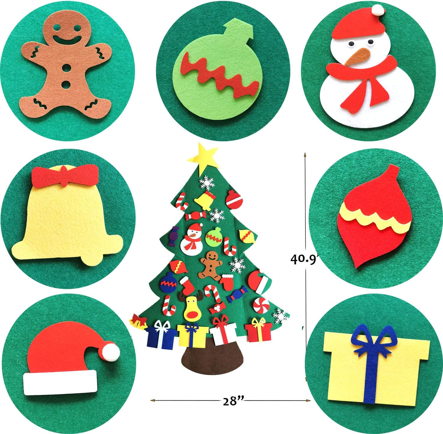 Mehome DIY Felt Christmas Tree with 31pcs Ornaments 31pcs Xmas Gifts for Kids New Year Handmade Christmas Door Wall Hanging Decorations