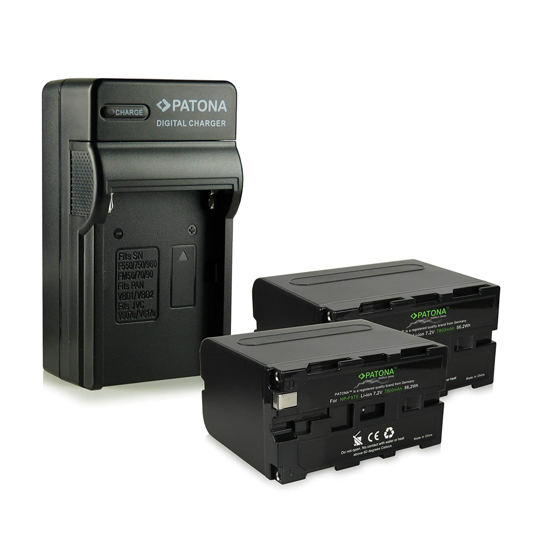 PATONA Cargador + 2x Premium Batería NP-F970 para Sony DCR-VX2100 HDR-FX1 | CCD-TR1 | CCD-TR3 | CCD-TR818 | CCD-TR3000 | CCD-TRV58 | CCD-TRV716 | ...