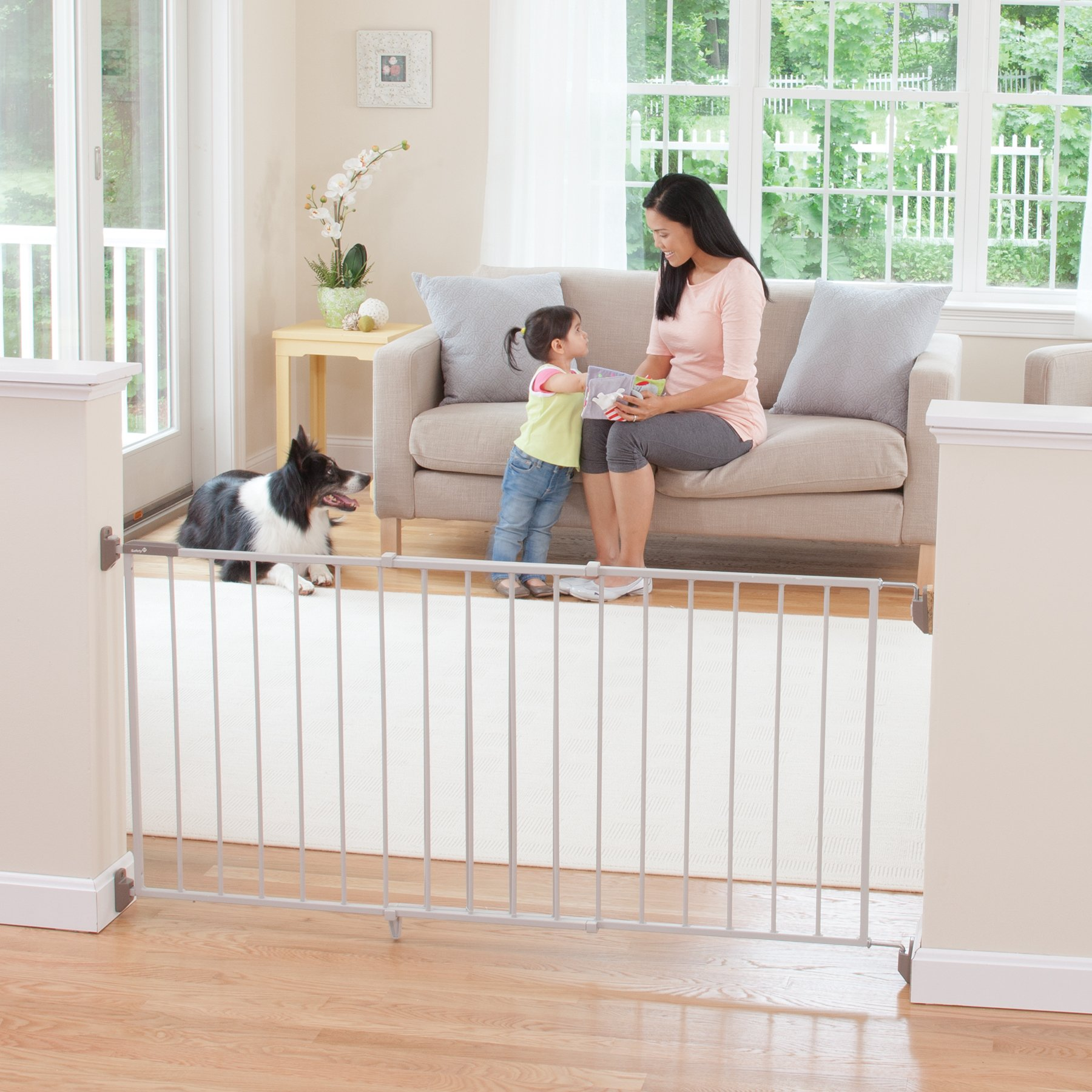 Safety 1st Wide & Sturdy Sliding Metal Gate, Fits Spaces Between 40'' and 64''
