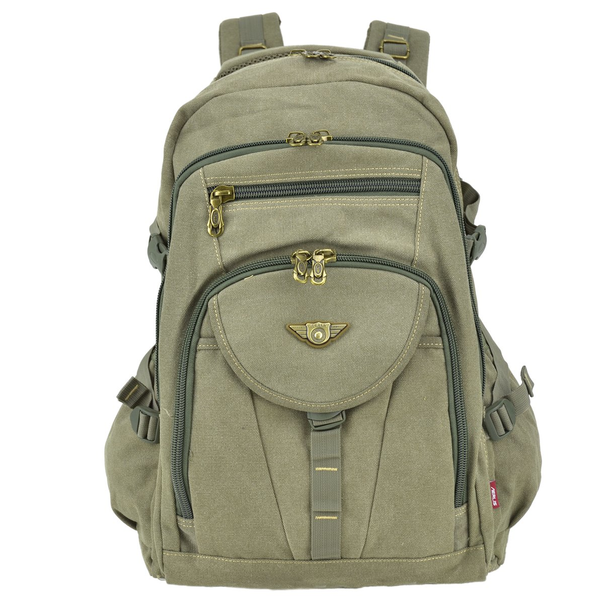 608c6c60e489 Amazon.com   Unisex Large Capacity Outdoor Vintage Canvas Adventure  Travel Camping Hiking School Backpack Daypack Rucksack with 3 Compartments  (9118 Army ...