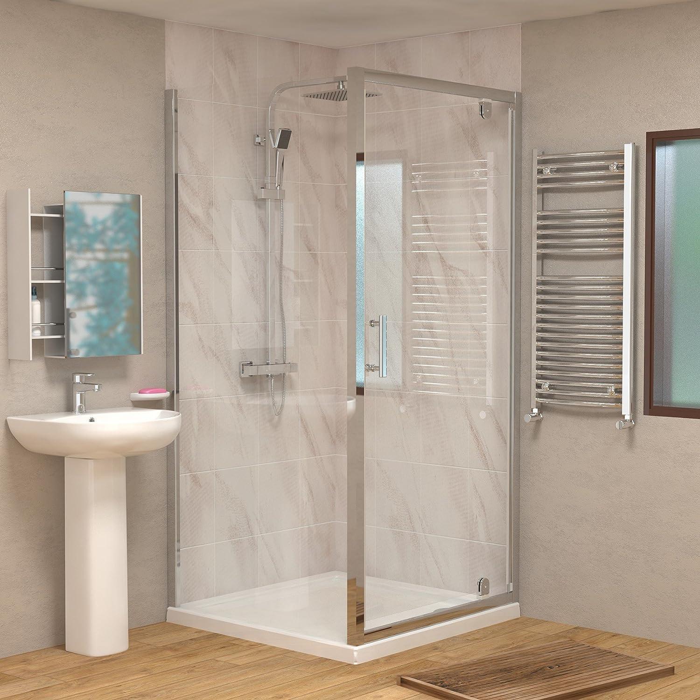 760 X 760mm Hinged Pivot Walk In Rectangular Shower Enclosure 6mm Glass Reversible Door Side Panel Co Uk Kitchen Home