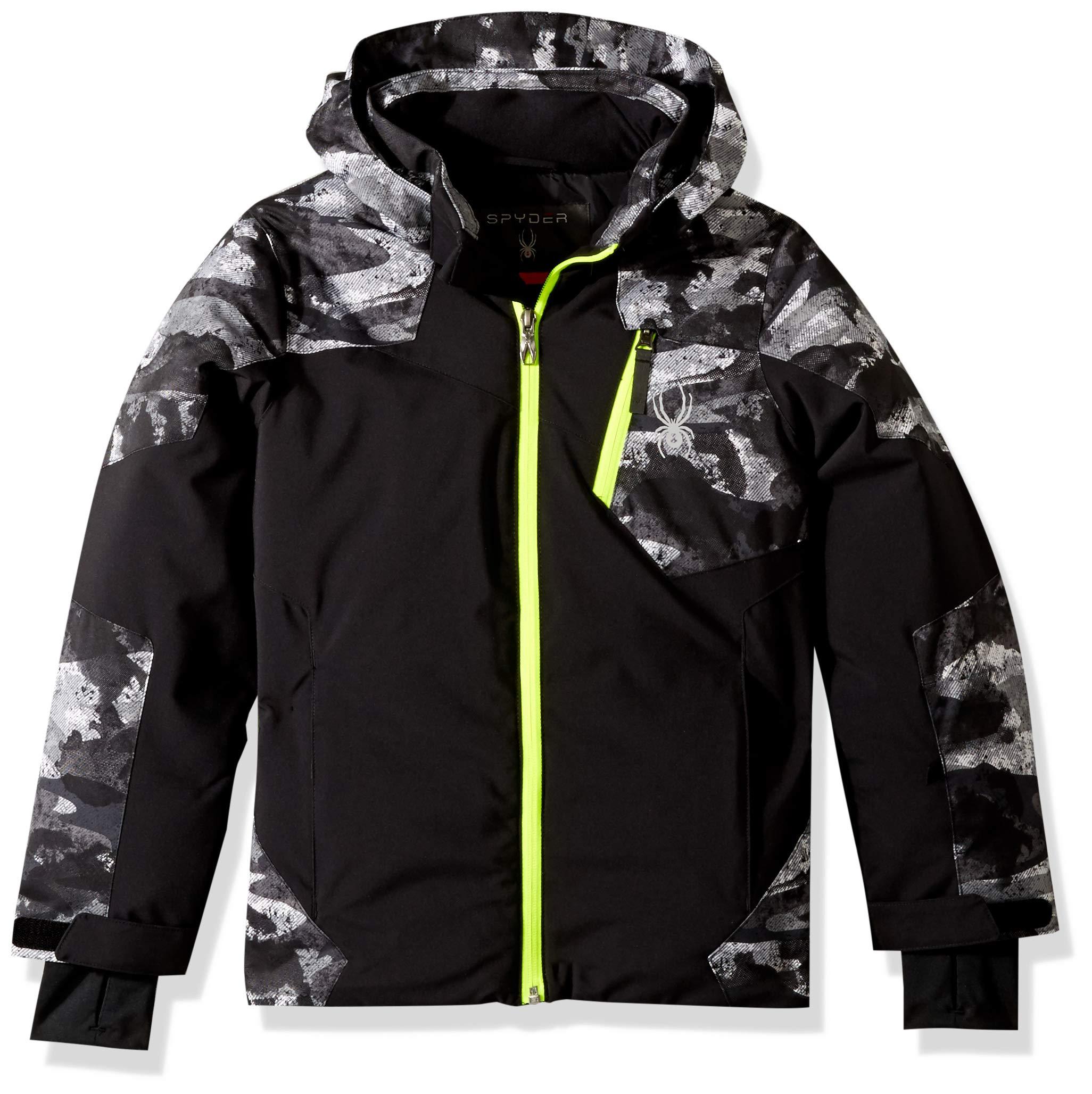 Spyder Boys' Chambers Ski Jacket, Black/Camo Distress Print/Bryte Yellow, Size 8