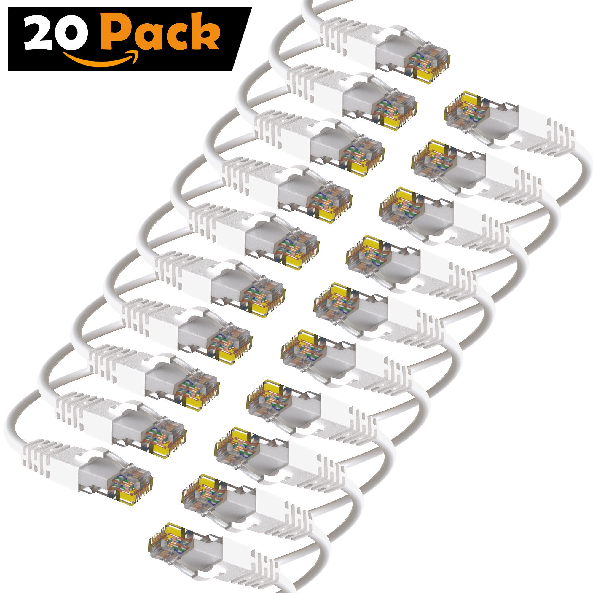 Maximm Cat6 Snagless Ethernet Cable - 25 Feet - White - [20 Pack] - Pure Copper - UL Listed - Cable Ties Included by Maximm